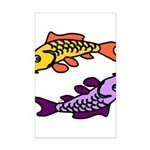 Pair of Abstract Colorful Carp Posters