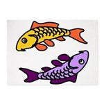 Pair of Abstract Colorful Carp 5'x7'Area Rug