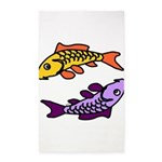 Pair of Abstract Colorful Carp Area Rug