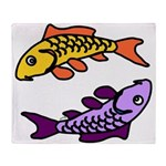 Pair of Abstract Colorful Carp Throw Blanket