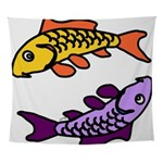 Pair of Abstract Colorful Carp Wall Tapestry