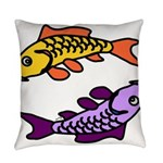 Pair of Abstract Colorful Carp Everyday Pillow