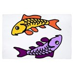 Pair of Abstract Colorful Carp 4' x 6' Rug