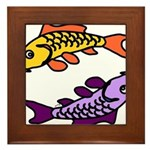Pair of Abstract Colorful Carp Framed Tile