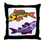Pair of Abstract Colorful Carp Throw Pillow