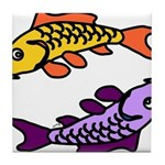 Pair of Abstract Colorful Carp Tile Coaster