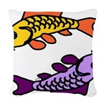Pair of Abstract Colorful Carp Woven Throw Pillow