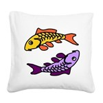Pair of Abstract Colorful Carp Square Canvas Pillo