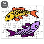 Pair Of Abstract Colorful Carp Puzzle