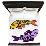 Pair of Abstract Colorful Carp King Duvet