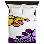 Pair of Abstract Colorful Carp Queen Duvet