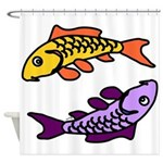 Pair of Abstract Colorful Carp Shower Curtain