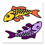 Pair of Abstract Colorful Carp Square Car Magnet 3