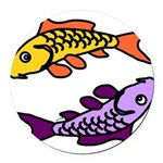 Pair of Abstract Colorful Carp Round Car Magnet
