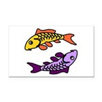 Pair of Abstract Colorful Carp Rectangle Car Magne