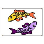 Pair of Abstract Colorful Carp Banner