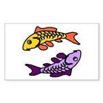 Pair of Abstract Colorful Carp Sticker