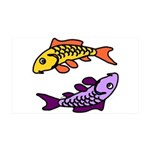 Pair Of Abstract Colorful Carp 35x21 Wall Decal