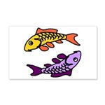 Pair of Abstract Colorful Carp Wall Decal