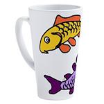 Pair of Abstract Colorful Carp 17 oz Latte Mug