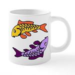 Pair of Abstract Colorful Carp Mugs