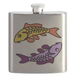 Pair of Abstract Colorful Carp Flask