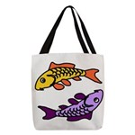 Pair of Abstract Colorful Carp Polyester Tote Bag