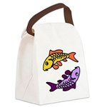 Pair of Abstract Colorful Carp Canvas Lunch Bag