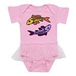 Pair of Abstract Colorful Carp Baby Tutu Bodysuit