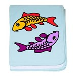 Pair of Abstract Colorful Carp baby blanket