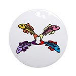 Abstract Colorful Carp 4 flower Round Ornament