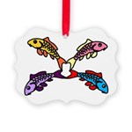 Abstract Colorful Carp 4 flower Ornament