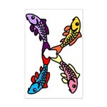 Abstract Colorful Carp 4 flower Posters