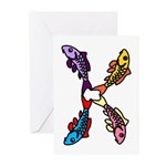 Abstract Colorful Carp 4 flower Greeting Cards
