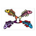Abstract Colorful Carp 4 flower Postcards (Package