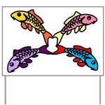 Abstract Colorful Carp 4 flower Yard Sign