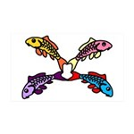 Abstract Colorful Carp 4 flower Wall Decal