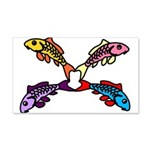 Abstract Colorful Carp 4 Flower 20x12 Wall Decal