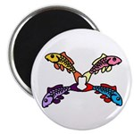 Abstract Colorful Carp 4 flower Magnets