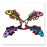 Abstract Colorful Carp 4 flower Square Car Magnet
