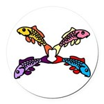 Abstract Colorful Carp 4 flower Round Car Magnet