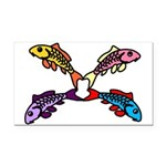Abstract Colorful Carp 4 flower Rectangle Car Magn
