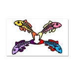 Abstract Colorful Carp 4 flower Car Magnet 20 x 12
