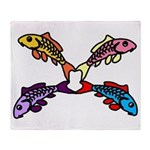 Abstract Colorful Carp 4 flower Throw Blanket