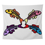 Abstract Colorful Carp 4 flower Wall Tapestry