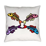 Abstract Colorful Carp 4 Flower Everyday Pillow