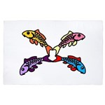 Abstract Colorful Carp 4 flower 4' x 6' Rug