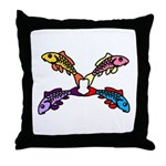 Abstract Colorful Carp 4 flower Throw Pillow