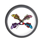 Abstract Colorful Carp 4 flower Wall Clock