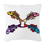 Abstract Colorful Carp 4 flower Woven Throw Pillow